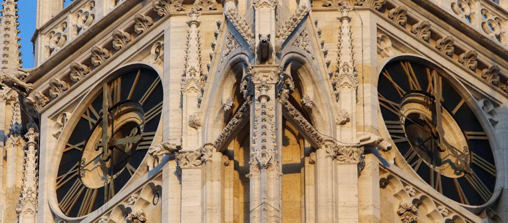 Zagreb Cathedral clock stone detail